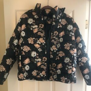Floral and black puffer jacket with hood